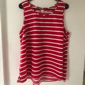 Flowy Red Striped Tank Top, Plus Size